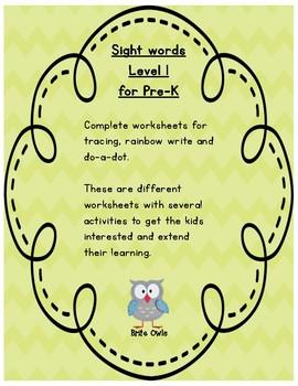 Sight words Level 1 worksheets / Pre-k / #TeachersLoveTeachers