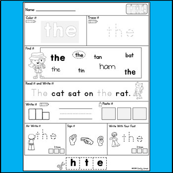 Sight words Practice Pages (Fry's 1st 100 Words)