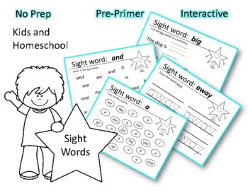 Sight words a, and, away, big, blue and a review