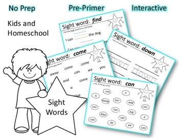 Sight words can, come, down, find, for and a review