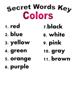 Sight words, colors, number codes