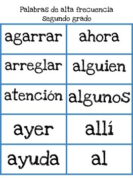 Sight words in Spanish