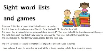 Sight words: lists and cards - using Fountas & Pinnell and
