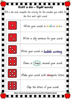Sight Word Game - Roll a Die {Freebie}