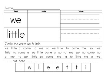 Sight words making words