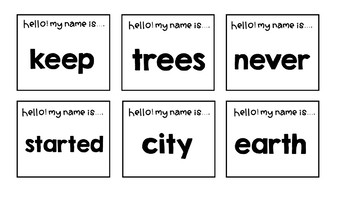Sight words review third 100 words (Hello! My name is activity)