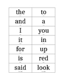 Sight words separated by color lists