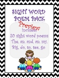 Sight word poetry pack