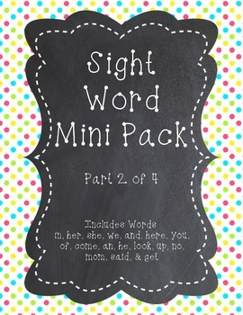 SightWord Mini Pack Part 2 - With Stamp Squares