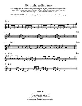Sightreading practice with 90's tunes