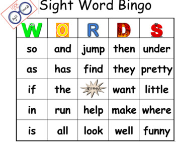 Sightword Bingo Game