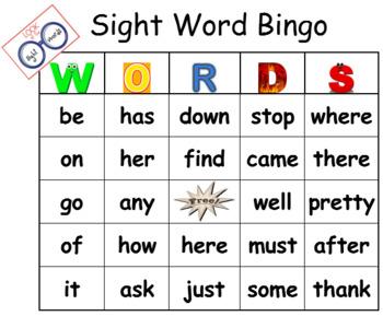 Sightword Bingo Game