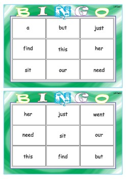 Sightword Bingo and Pop - Set 1