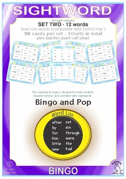 Sightword Bingo and Pop - Set 2