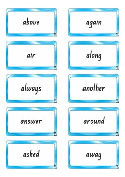 Sightword Flashcards - Level Two