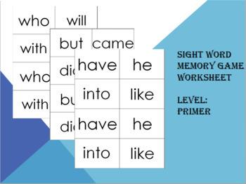 Sightword memory game worksheet (primer)