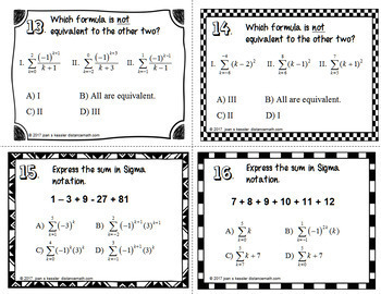 Summation Notation Sigma Notation  Task Cards  plus Flip Book