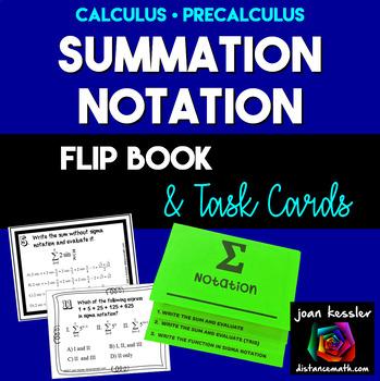 Summation Notation Sigma Notation  Task Cards  plus Flip Book