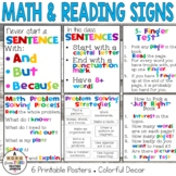 Sign Bundle: Math Problem Solving and Reading/ Writing Mini-Posters