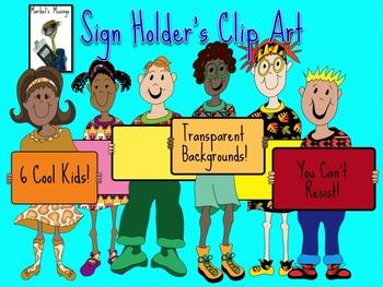 Sign Holder's Clip Art
