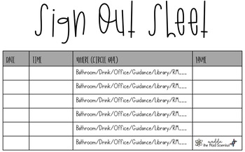Sign Out Sheet