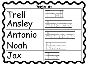 Editable Sign in Sheet (Name Trace Practice)
