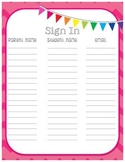 Sign In Sheet for Open House, Back to School Night or Parent Night {in chevron}