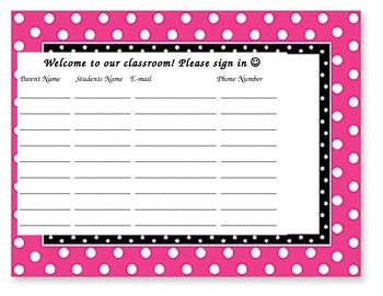 Sign In Sheet for Parents for Back to School/Meet the Teacher Night