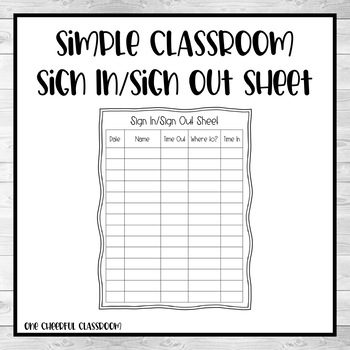 Simple Classroom Sign Out Sheet