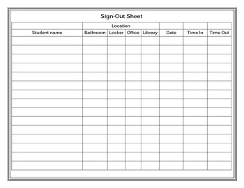Sign In and Sign Out Sheet