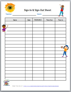 Sign-In and Sign-Out Template Kids Theme