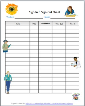 Sign-In and Sign-Out Template Middle School Tween & Teen Theme