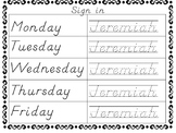 Name Writing Practice! Name Trace Sign In sheets!! In D'Nealian (Editable)