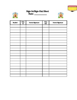 Sign In/Out Sheet for Pre-K