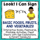 Sign Language Printables, Flash Cards and Activities for BASIC FOODS
