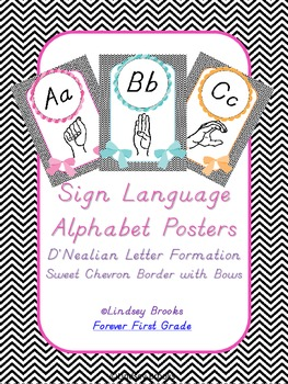 Sign Language (ASL) Alphabet Posters in Sweet Chevron (WIT