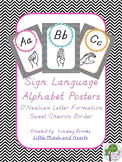 Sign Language (ASL) D'Nealian Alphabet Posters in Sweet Chevron