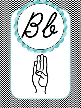 Sign Language (ASL) Cursive Alphabet Posters in Sweet Chevron