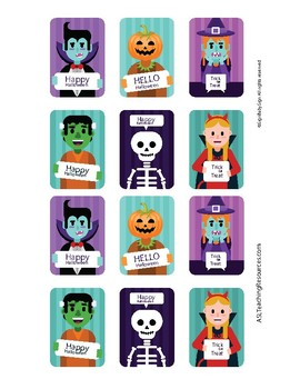 Sign Language ASL Halloween Match Up Cards Full Color, Game Sign Language