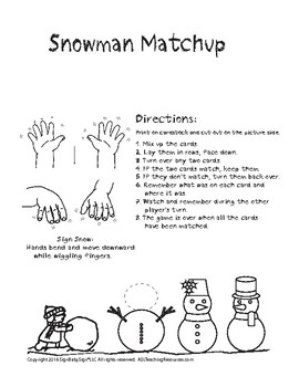 Sign Language ASL Snowman Match Up Cards Black and White, Game Sign Language