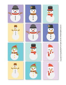 Sign Language ASL Snowman Match Up Cards Full Color, Game Sign Language