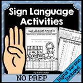 Sign Language Activities | Printable & Digital