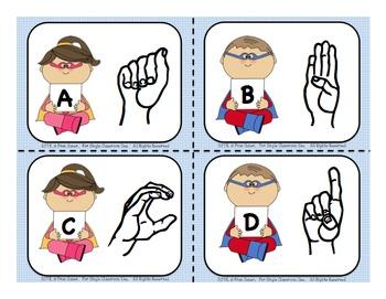 Sign Language Alphabet Flash Cards (Super Hero Theme)