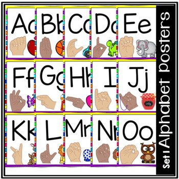 Alphabet Posters with sign language (2 skin tones)