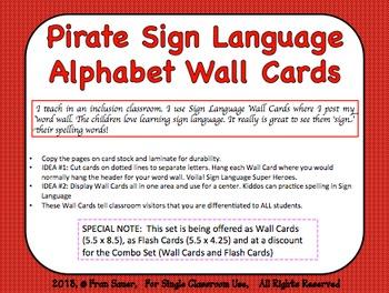 Sign Language Alphabet Wall Cards (Pirate Kids Theme)