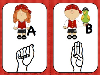 Sign Language Alphabet Wall Cards and Flash Cards Combo Set (Pirate Kids Theme)