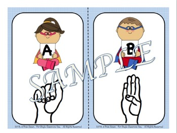 Sign Language Alphabet Wall Cards and Flash Cards Combo Set (Super Hero Theme)