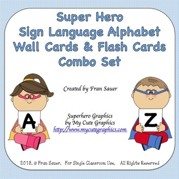 Sign Language Alphabet Wall Cards and Flash Cards Combo Se