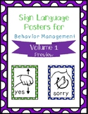 Sign Language Behavior Management Posters {a free preview}