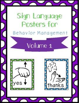 Sign Language Behavior Management Posters